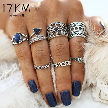 17KM Hollow out Vintage Pattern Turkish Flower Leaves Knuckle Ring Sets Midi Love Big Rings for Women Ring Man Jewelry 7PCS/Set