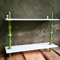 Mid Century Olive Green Spindle Milk Glass Wall Shelf Boho Decor