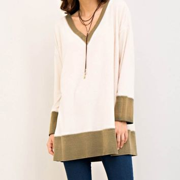 V-Neckline Contrast Fabric Tunic Top