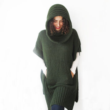 Green Mohair Hand Knitted Poncho with Accordion Hood and Pocket Plus Size Over Size Tunic - Dress by Afra