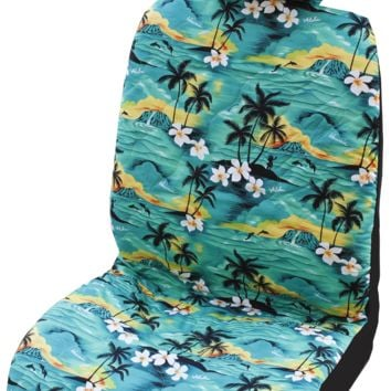 Green 100 Sunsets Hawaiian Separate Headrest Car Seat Cover