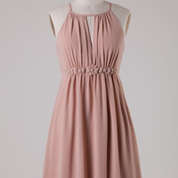 Chiffon Dress with Flower Band - Champagne