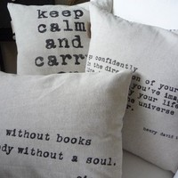Personalized Quote Industrial Chic Cotton Throw Pillow Cover