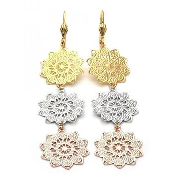 Gold Layered 5.106.003 Long Earring, Flower Design, Diamond Cutting Finish, Tri Tone