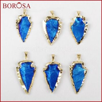 BOROSA Arrow Gold Pendants Ja-sper Natural Stone Deep Blue Titanium Arrowhead Quartz Druzy Pendant for Necklace G0519 G0520