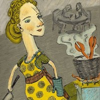 Illustration - Giclee Art Print - Kitchen - Woman Cooking Lobster - 7 x 11 - Earth Tones, Gray and Yellow