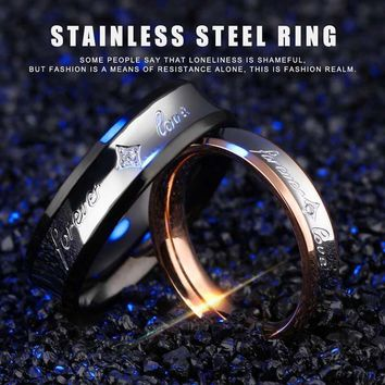 """Zircon Couple Titanium Steel Promise Ring Comfort Fit Wedding """"Forever Love"""" Bands Rings"""