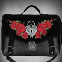 Embroidered Roses Satchel