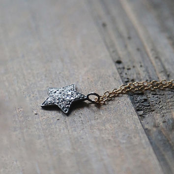 Pave Star Pendant, Five Pointed Star, Diamond Star Necklace, Mixed Metal Jewelry, Boho minimal Jewelry