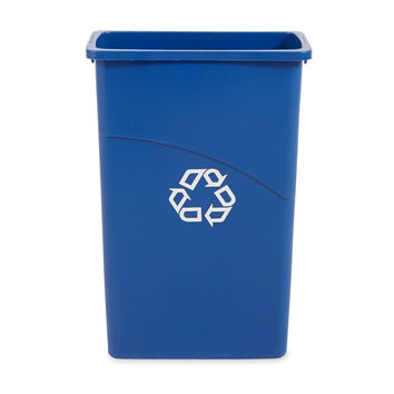 Rubbermaid Commercial Slim Jim Recycling Bin Plastic 23 Gallons Blue (354075BE)