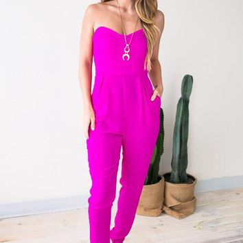 Night Visions Sweetheart Jumpsuit in Magenta