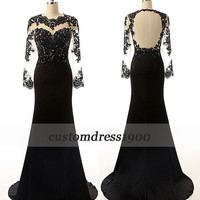 Black long sleeve evening dress,cap sleeve evening dress/formal women dress,handmade beading prom dress