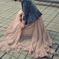 17 Colors Double Silk Chiffon Long Skirt / Summer Skirt/ Maxi Dress/ Bridesmaid Dress