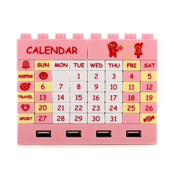DIY Building Blocks Calendar USB Hub 2.0 w/ 4 Port Pink