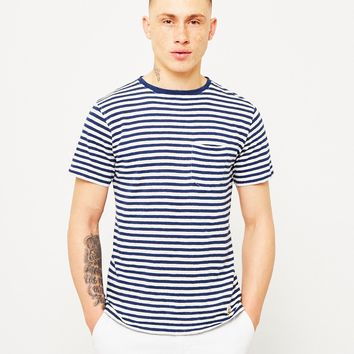 Armor Lux Pocket T-Shirt Navy & Off White