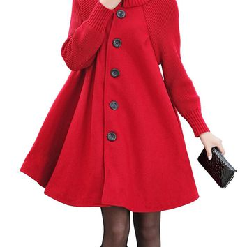 2018 New Fashion Women Swing Coat Turtleneck Long Sleeve Button Winter Thick Outerwear Trench Coat Overcoat Black/Grey/Red
