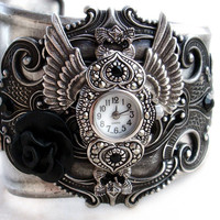Women's Cuff Watch with Silver Wings and Black Rose