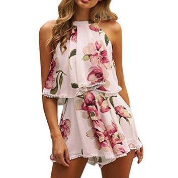 TOOPOOT Summer Two-Piece Outfit,Womens Tassels Playsuit Jumpsuit Floral Beach Top Shorts Set