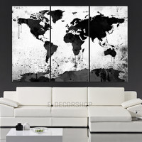 Large Black White World Map Canvas Print - 3 Piece Watercolor Splash Map Large Canvas Wall Art