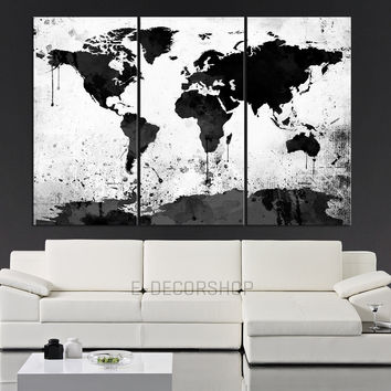 Canvas print watercolor world map canvas from edecorshop on etsy large black white world map canvas print 3 piece watercolor splash map large canvas wall gumiabroncs Image collections