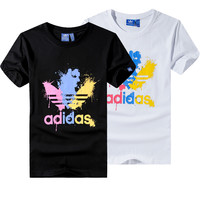 """""""Adidas"""" Unisex Fashion Casual Multicolor Gush Ink Clover Letter Print Short Sleeve T-shirt Couple Shirt Top Tee"""