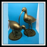 Bird Ibis Solid Brass Hand Crafted SET OF TWO Markings l and ll Made in Korea Decorative Crafts, Inc Number 4761