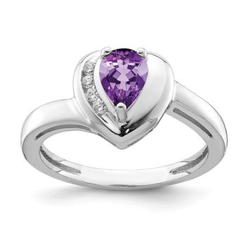 925 Sterling Silver Rhodium Plated Amethyst and White Topaz Heart Ring