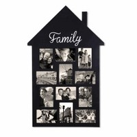 """Adeco Black Wood Wall Hanging Picture Photo Frame """"Family"""" House-Shape 12 Openings 4x6"""" [PF0548]"""