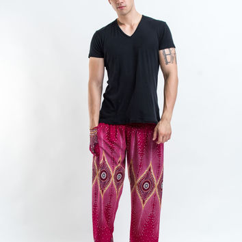 Diamond Peacock Men's Harem Pants in Red