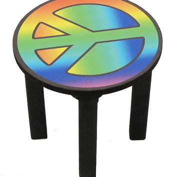 Childrens stool. Peace sign chair for kids.