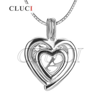 CLUCI romantic Double Love Heart charms 925 sterling silver locket necklace pendant, fine jewelry for women