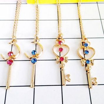 Anime Sailor Moon Chibi Gold Crystal Cosplay Necklace Accessories