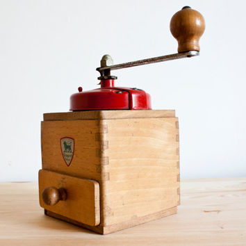 Peugeot Frères || Antique French red Coffee Grinder 1950's - Vintage french Metal and wood coffee grinder - Rustic & shabby chic