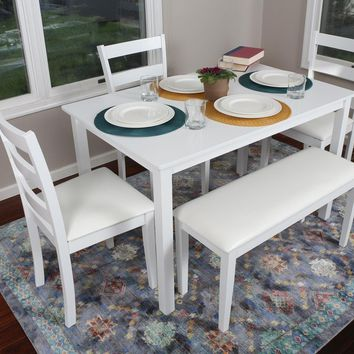 New Century® 5 Pieces White 4 Person Dining Table With Leather Chairs