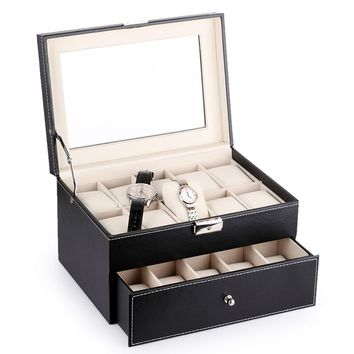 20 Slot Watch Box Leather Display Case Organizer For Watch Jewelry Storage Glass