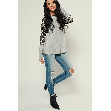 Cat's Meow Leopard Print Top (Heather Grey)