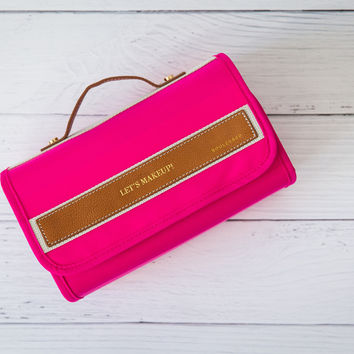 DELILAH TOILETRY ROLL NEON PINK