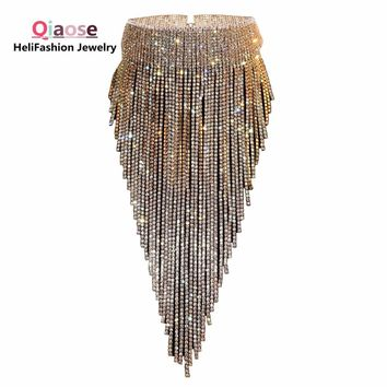 Qiaose shiny full rhinestone long chain choker collar statement necklace for women high quality stunning necklace  jewelry