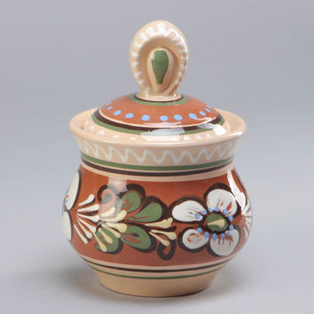 Handmade painted clay sugar bowl pot with lid 300 ml