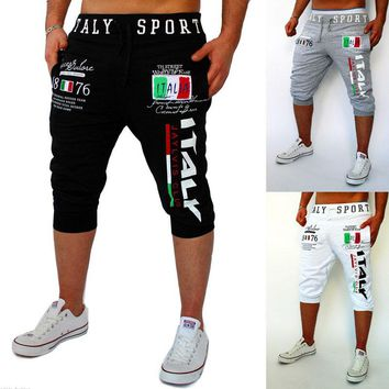 Fashion 2017 Summer wear capri Italy digital printing design Hip Hop Fitness boys Elastic waist casual pants male sweatpants