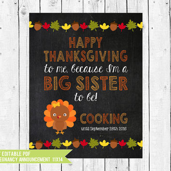 Thanksgiving pregnancy announcement - pregnancy announcement idea - Thanksgiving Big Sister // DIY edit with ADOBE READER