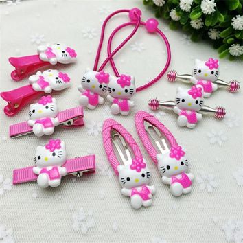 10Pcs/set Fashion Hair Clip Children Girls Flower Kawaii Kitty Headband Cute Barrettes Hair Accessories Kids Hairpins High Ropes