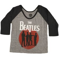 Beatles  Silhouette Girls Jr Raglan Tee Heather Rockabilia