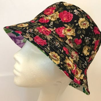 Bucket-Hat-Floral Hawaiian-Boonies-Hunting-Fishing-Outdoor-Men-Women Cap black