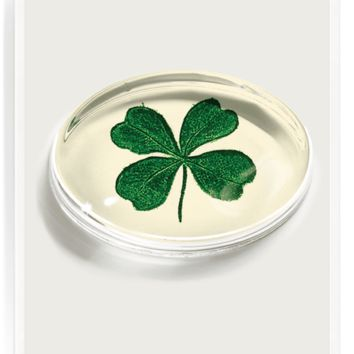 Vintage Lucky Clover Crystal Oval Paperweight