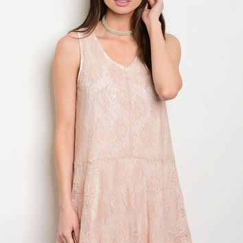 * LIGHT BLUSH LACE DRESS