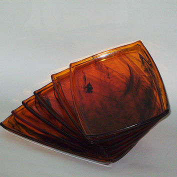 Vintage Amber Canape Trays by Majestic Gifts