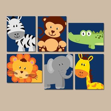 JUNGLE Animal Wall Art, Canvas or Prints, Boy Girl Nursery Decor, Safari Zoo Animals, Zebra Monkey Elephant Lion, PLAYROOM Decor, Set of 6