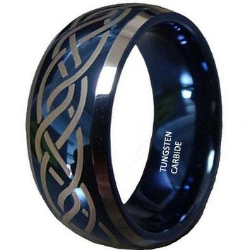 CERTIFIED 8mm Blue Tungsten Carbide Wedding Ring Laser Celtic Knot Engagement Promise Band