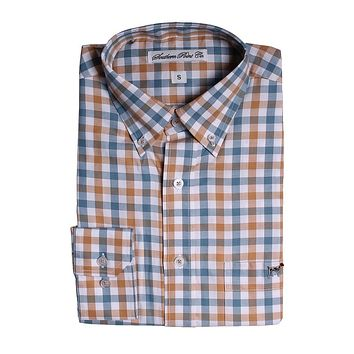 The Hadley Shirt in Blue and Orange Check by Southern Point - FINAL SALE